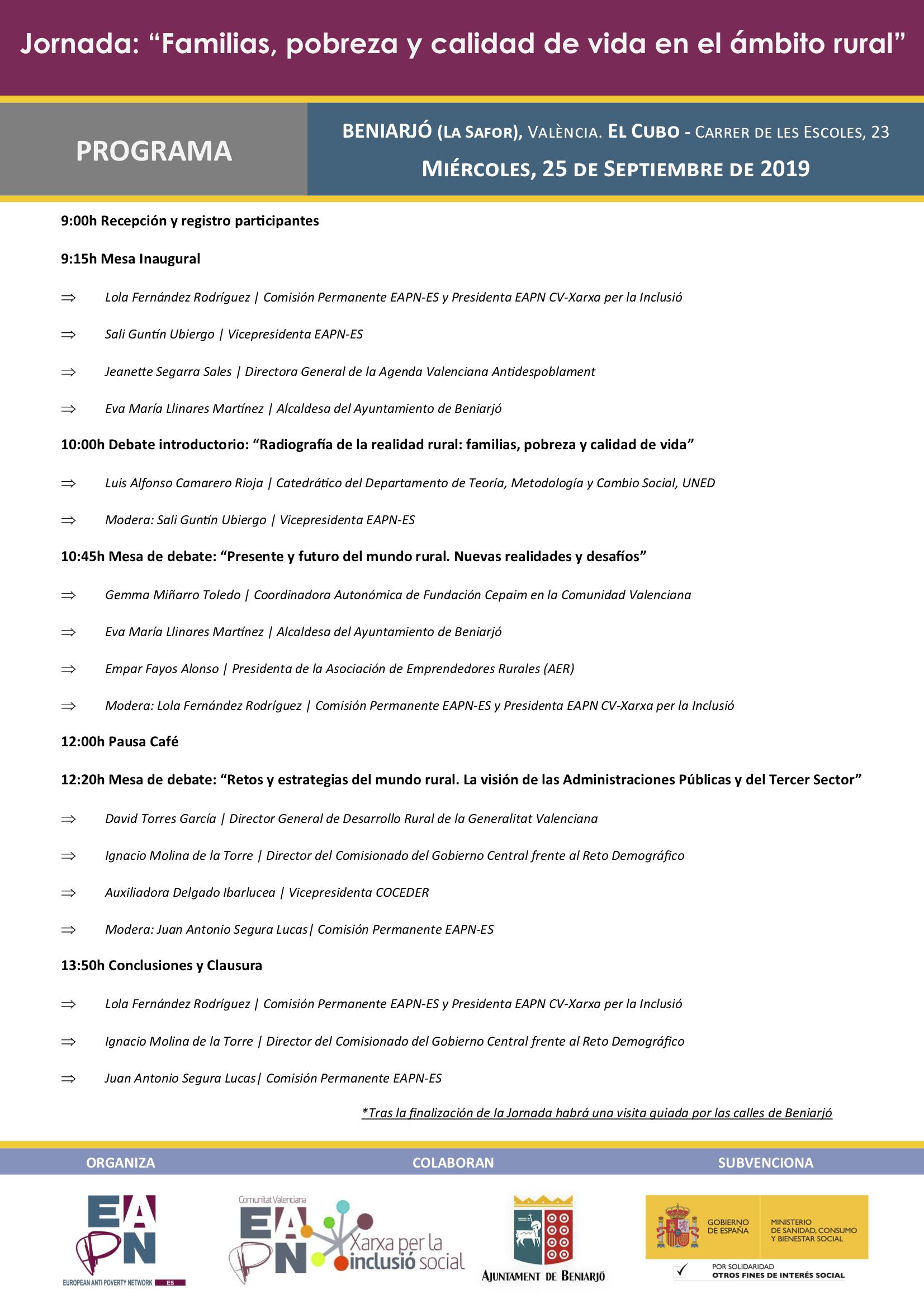 2019.09.25_Beniarjó_Programa Jornada Pobreza Rural y Familias